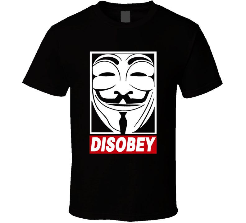 V For Vendetta Disobey Parody Inspired Rave Festival Concert T Shirt