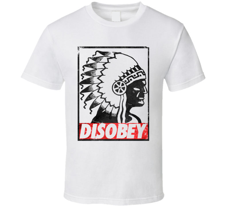 Native American Aboriginal Headdress Disobey Distressed Parody Rave Festival Concert T Shirt