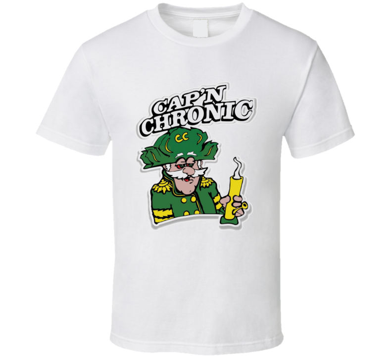 Cap'n Chronic Captain Crunch Weed Stoned Bong Parody Funny T Shirt