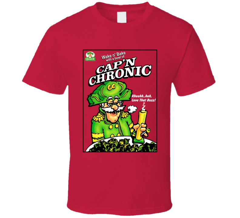 Cap'n Chronic Captain Crunch Weed Stoned Bong Parody Quaker Cereal T Shirt