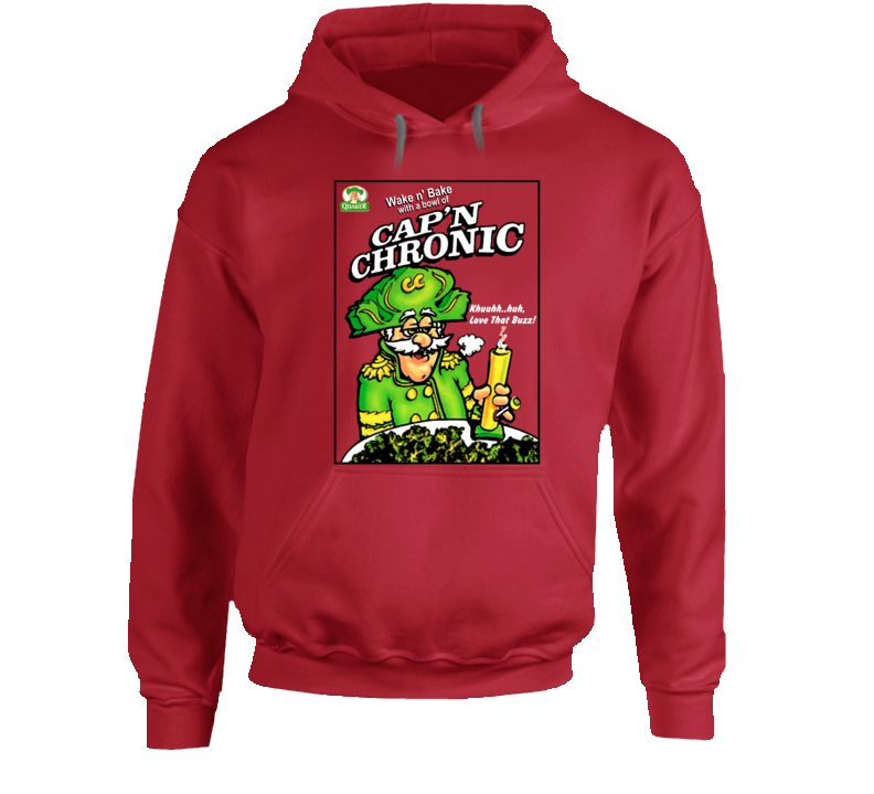 Cap'n Chronic Captain Crunch Weed Stoned Bong Parody Quaker Cereal Hoodie