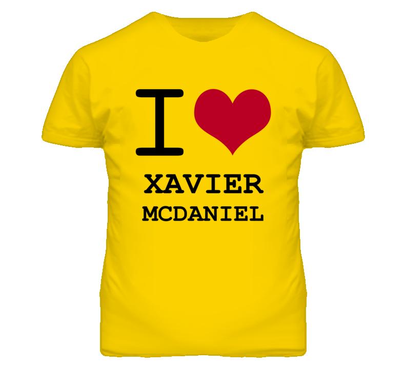 Xavier Mcdaniel Kansas Sports I Love Heart T Shirt