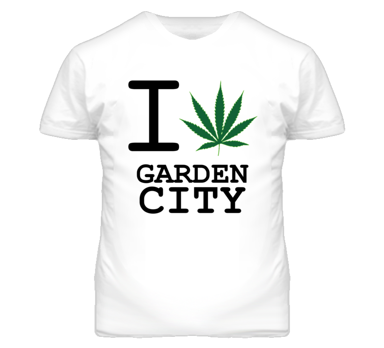 Garden City Missouri I Heart Love Weed Marijuana Green T Shirt