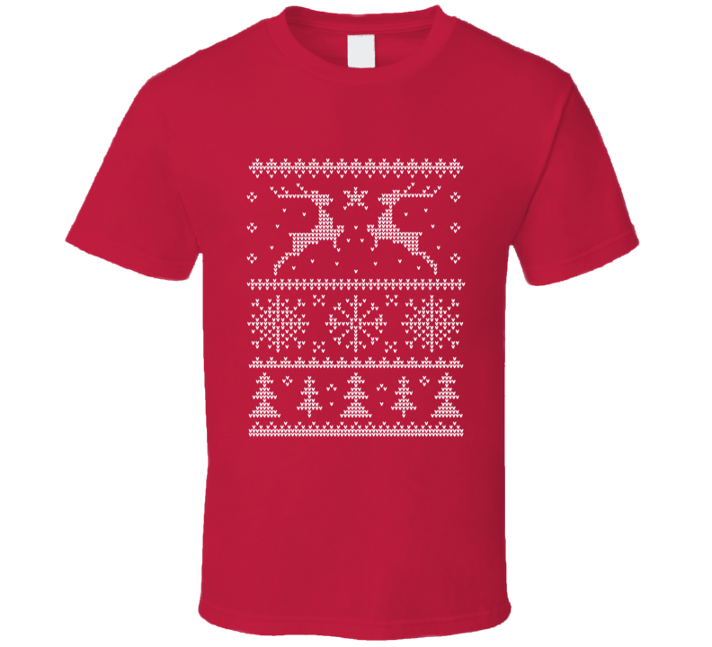 Ugly Christmas Sweater Dear and Snowflakes T Shirt