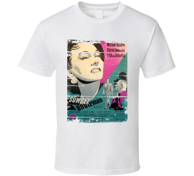 Sunset Boulevard  Classic Movie Poster Aged Look T Shirt