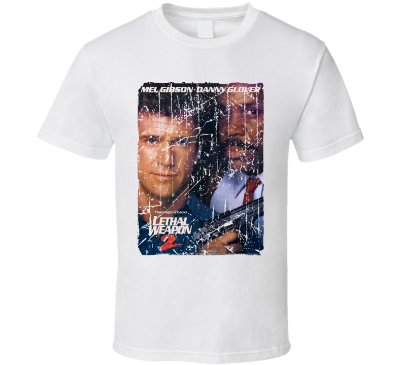 Lethal Weapon 2 Movie Poster Retro Aged Look T Shirt