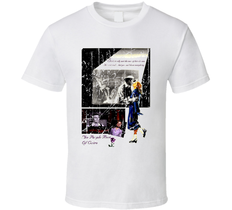 The Purple Rose Of Cairo Movie Poster Retro Aged Look T Shirt