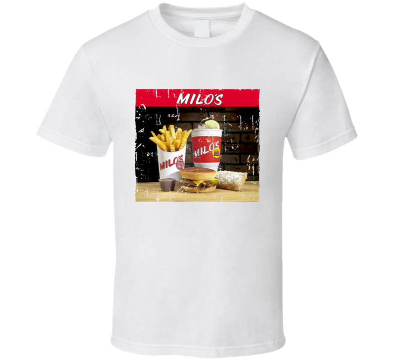 Milos Hamburgers Fast Food Restaurant Distressed Look T Shirt