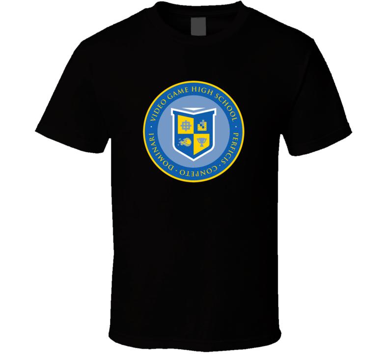 Video Game High School Crest Freddie Wong Black T Shirt