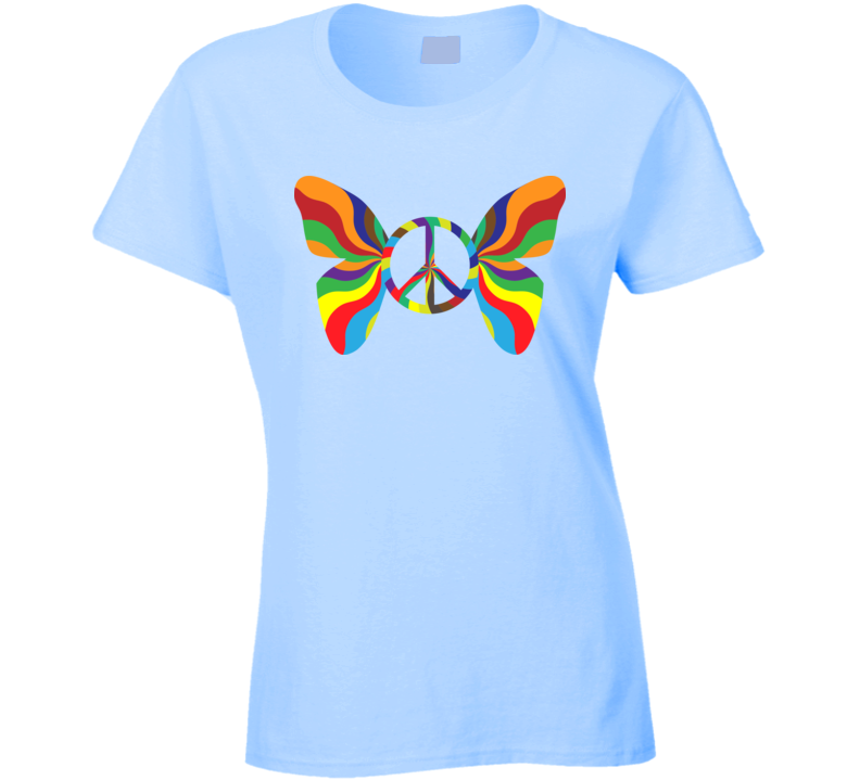 Psychedelic Butterfly Peace Sign  T Shirt