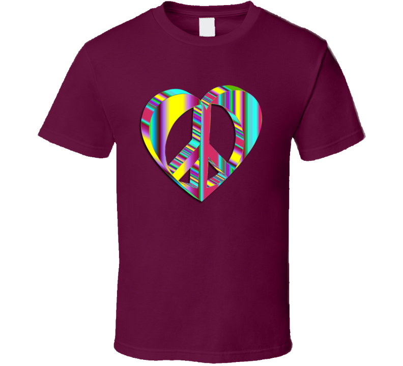 Psychedelic Peace Heart T Shirt