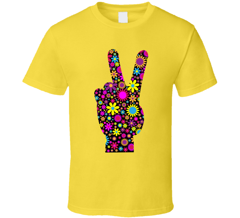 Floral Peace Hand T Shirt