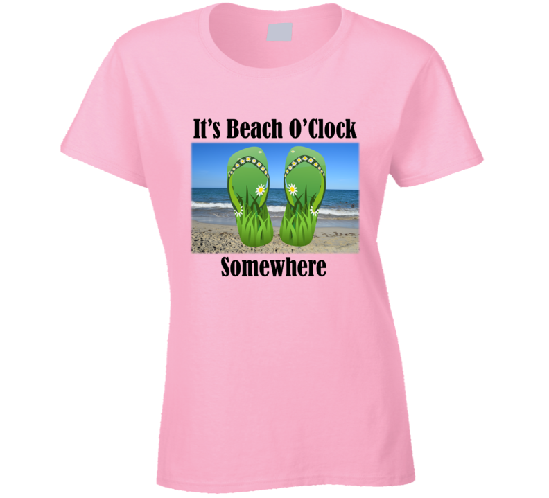 It's Beach O'Clock Somewhere (Black Text) T Shirt