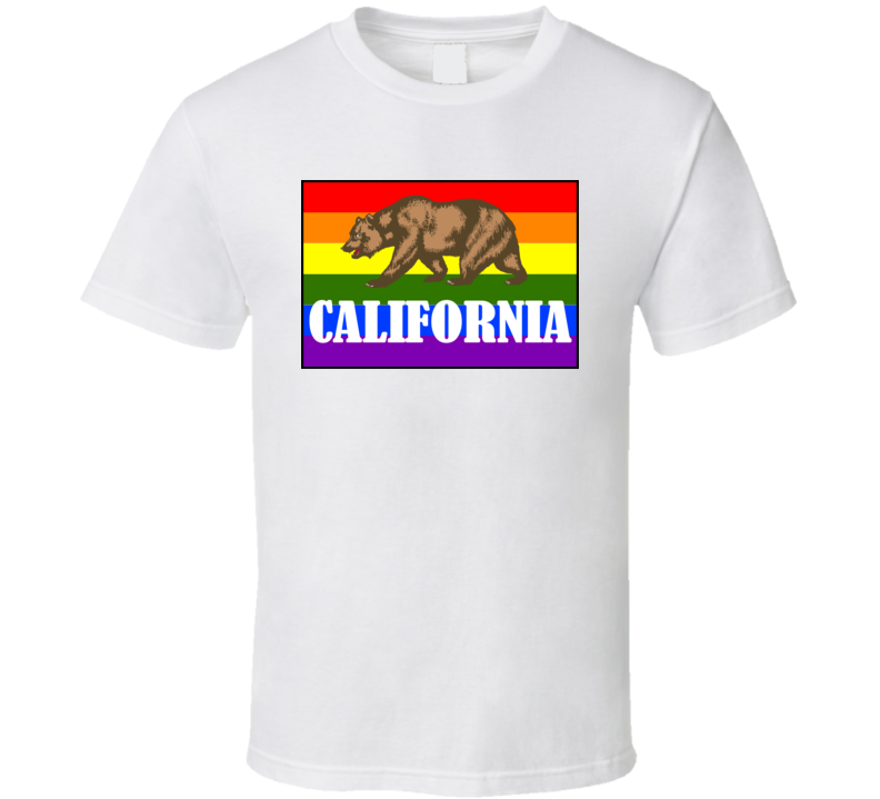 California Rainbow Flag T Shirt