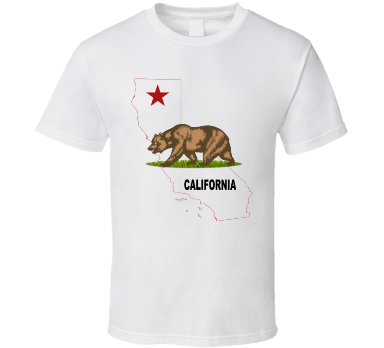 California Map and Bear T Shirt