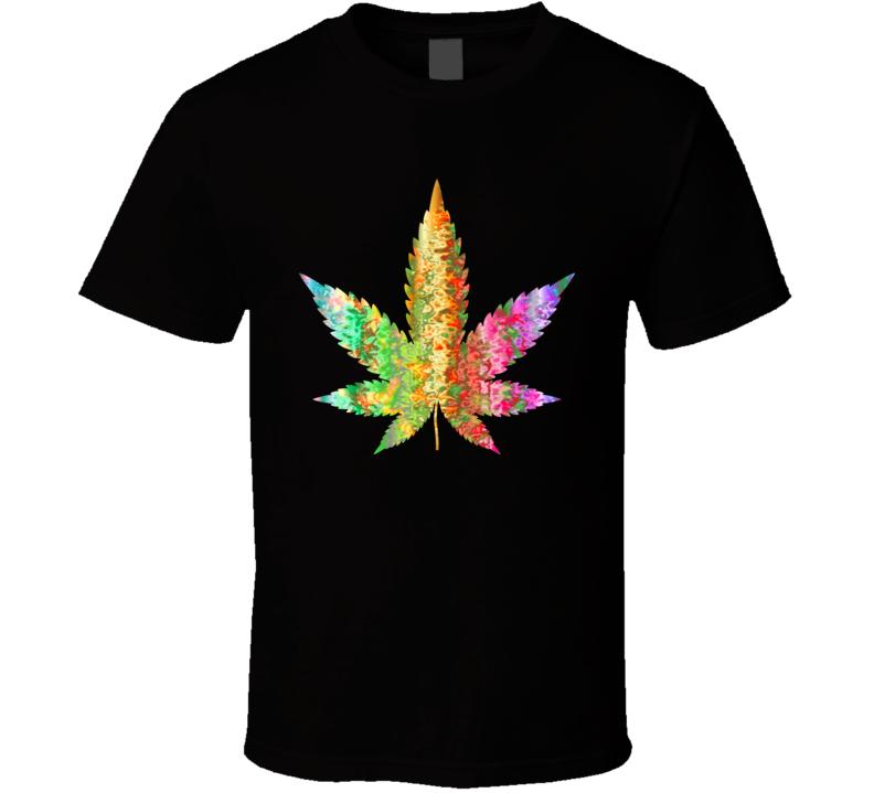 Psychedelic Marijuana Leaf T Shirt