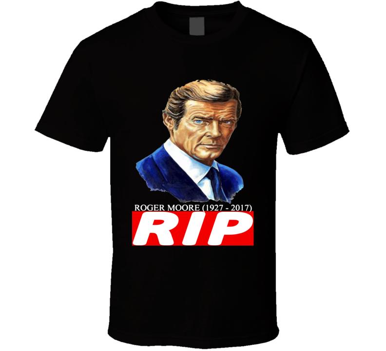 Sir Roger Moore James Bond 007 Character 1927 to 2017 Box Logo RIP Tribute T Shirt