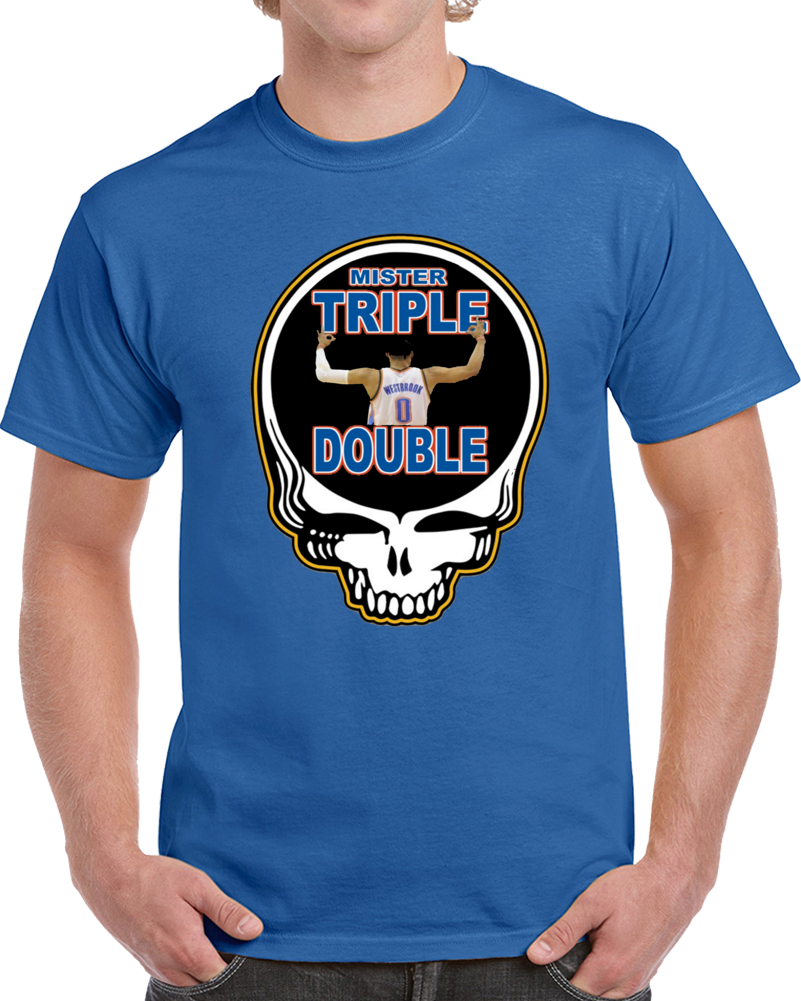 Okc Russle Westbrook Stealie Steal Your Face Greatful Dead Skull Mr Triple Double Basketball T Shirt