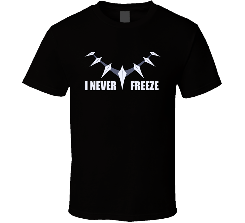 Black Panther I Never Freeze Necklace Chain T Shirt