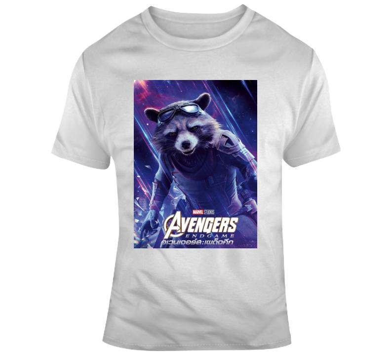 Avengers Endgame Character Rocket Raccoon Poster  T Shirt
