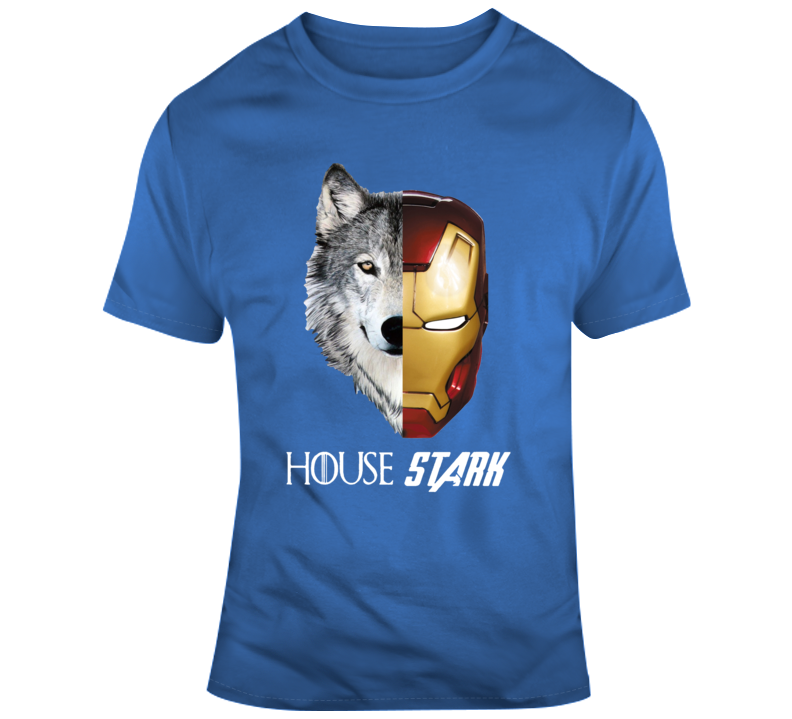 Hot Game Of Thrones And Avengers Wolf And Iron Man House Stark T Shirt