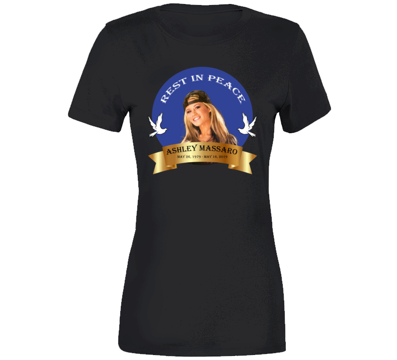 Ashley Massaro Rest In Peace Coat Of Arms Ribbon Banner Rip T Shirt
