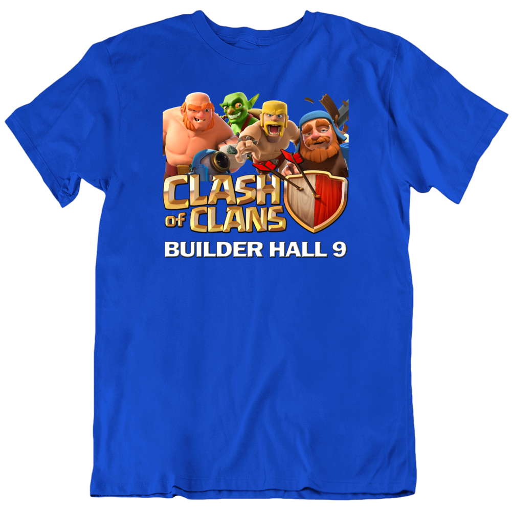 Clash Of Clans Builder Wall 9 Base Character Collage  T Shirt