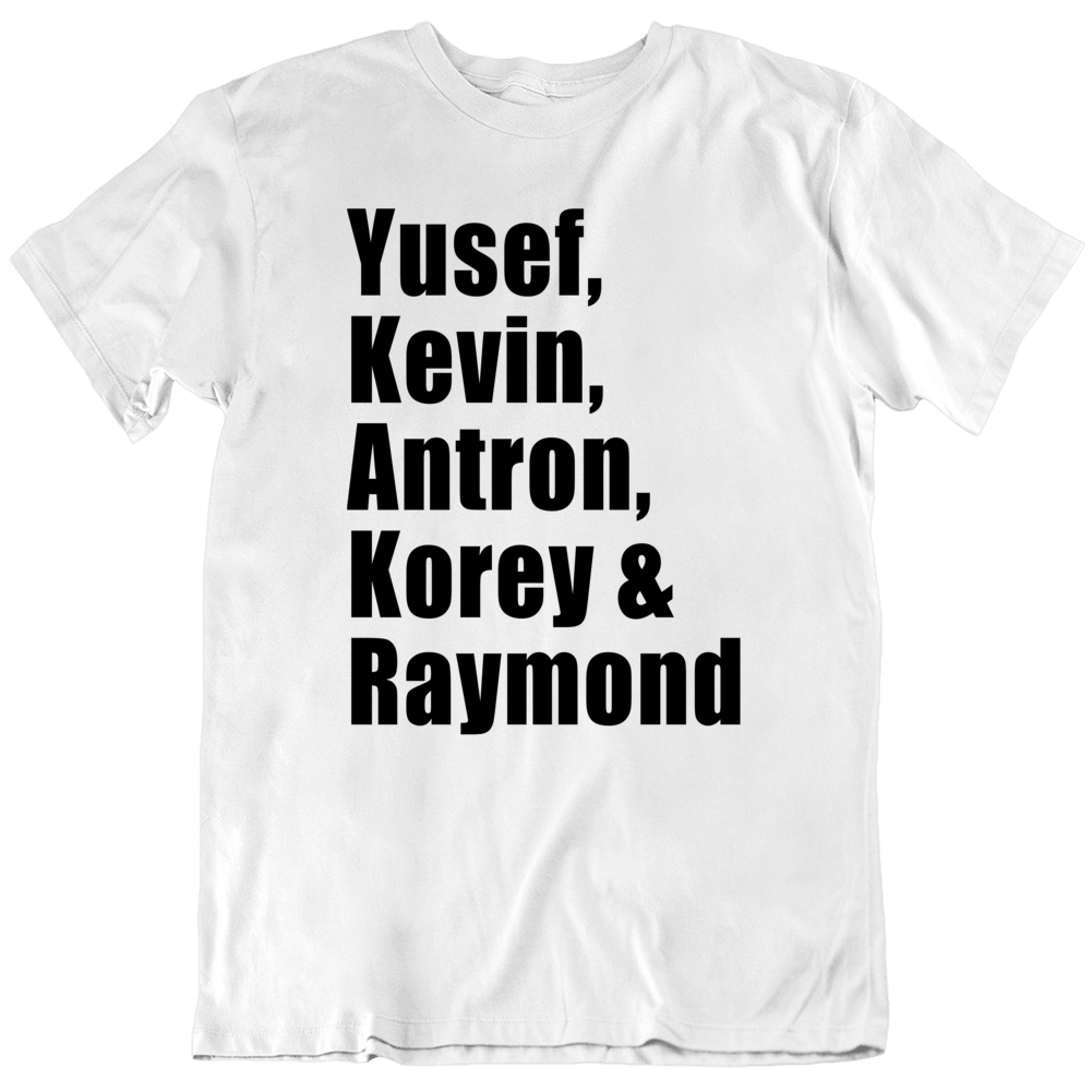 Yusef Kevin Antron Korey And Raymond Santana Central Park Five 5 Black Print T Shirt