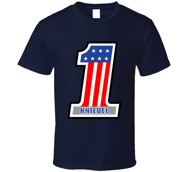 Evel Knievel American Patriot 1 Logo Usa Stars & Stripes T Shirt