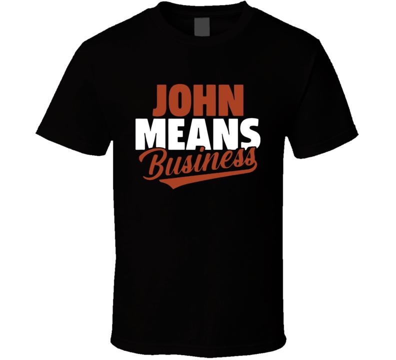 John Means Business Baltimore Baseball T Shirt