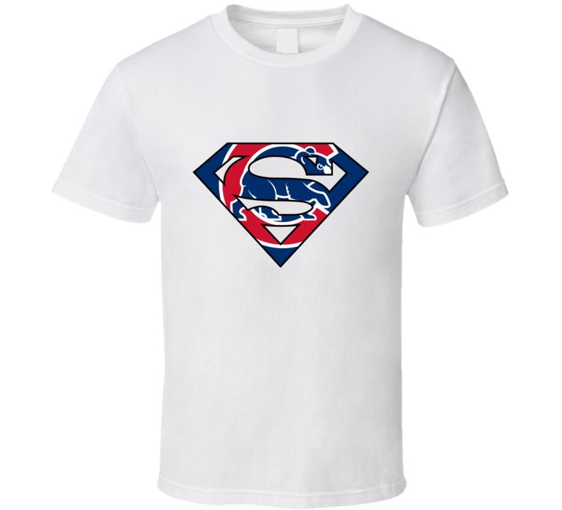 Chicago Baseball Superman Logo T Shirt