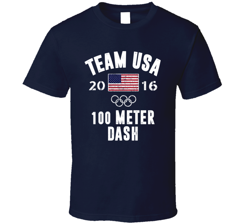 United States USA 100 Meter Dash Rio 2016 Olympic Team Support T Shirt