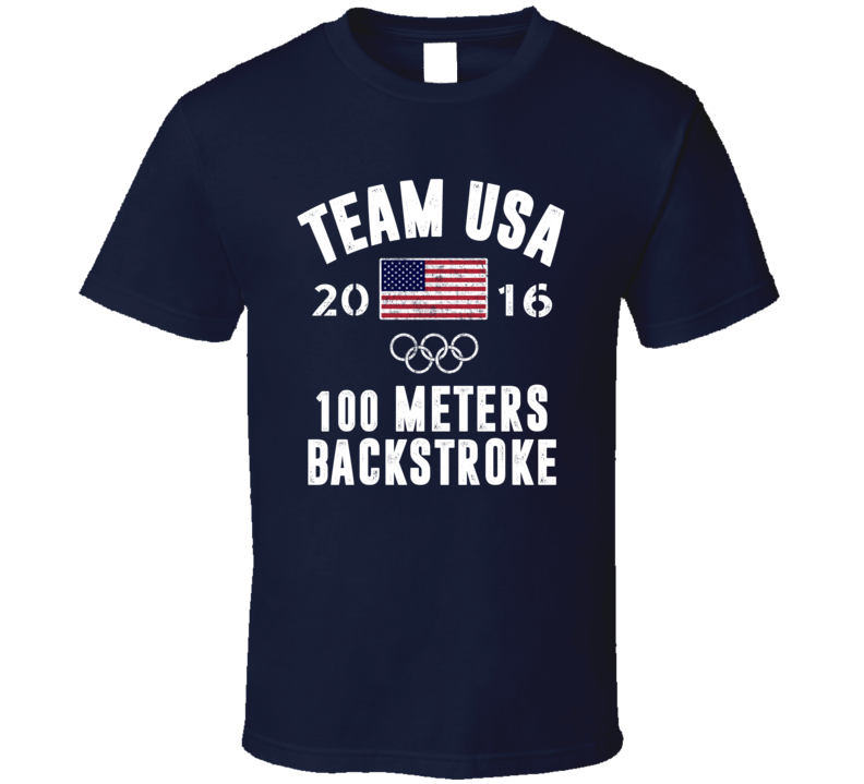 United States USA 100 Meters Backstroke Rio 2016 Olympic Team Support T Shirt