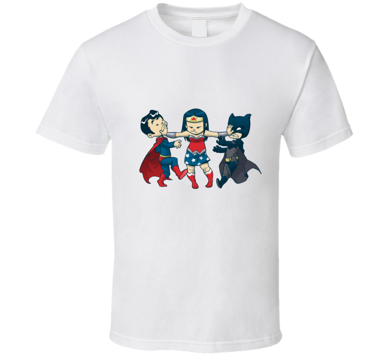 Superwoman batman and suoerman kids cartoon funny T shirt