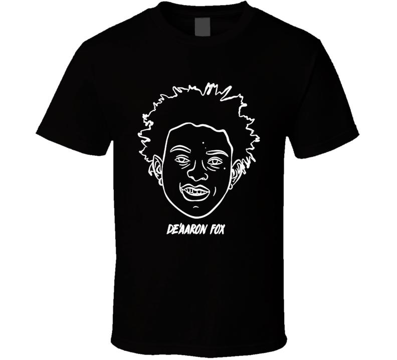 De Aaron Fox Sacramento Kentucky Basketball Player Head Black T Shirt