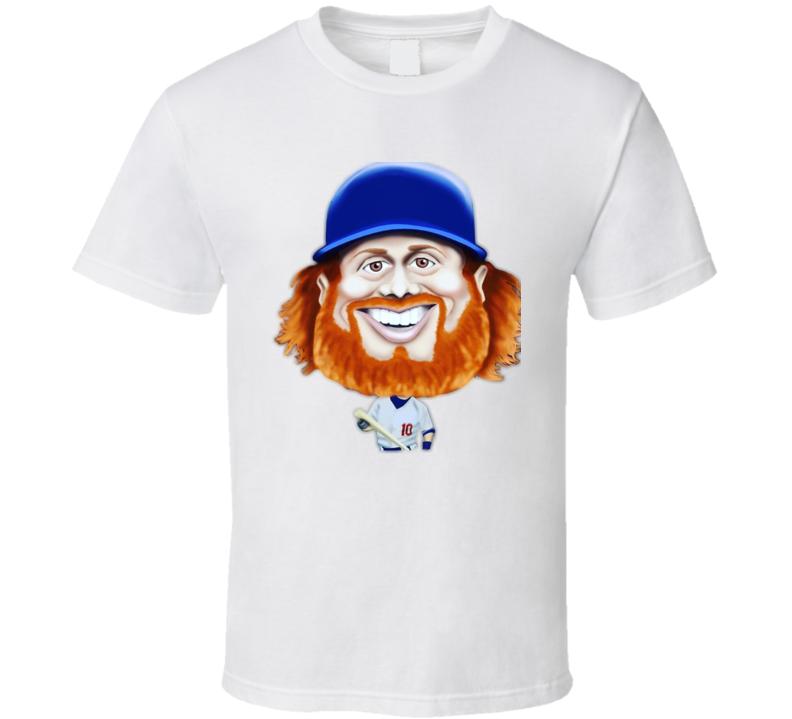 Justin Turner La Dodgers Face Beard Cartoon World Series 2017 Baseball Fan T Shirt