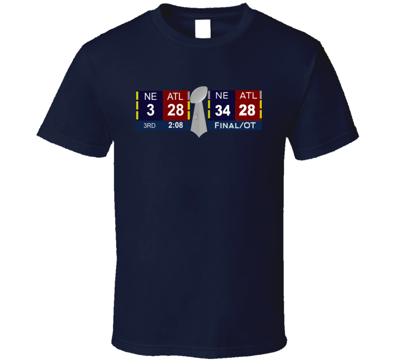 New England vs Atlanta Super Bowl score comeback 28-3 and 34-28 tshirt