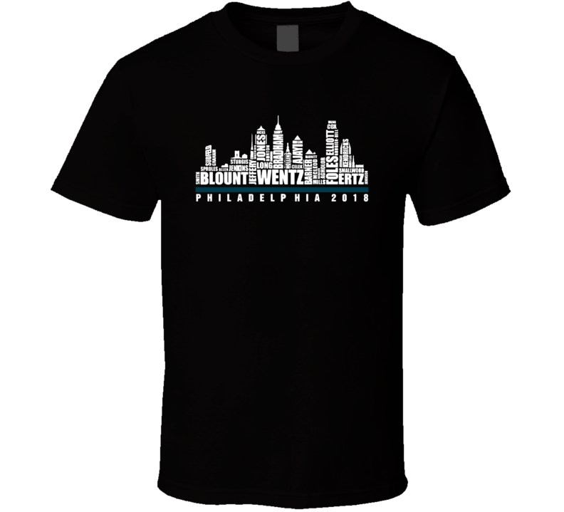 2018 Philadelphia Football Fly Eagles Fly City Skyline Cool Fan T Shirt