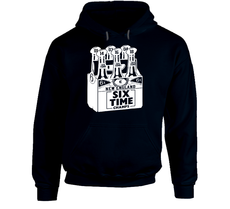 Six Time Champs Beer New England Football Fan Hoodie