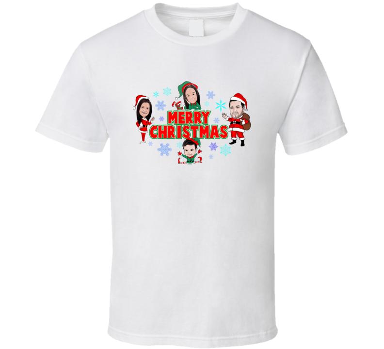 Christmas Elves Family Portrait Custom Gift T Shirt