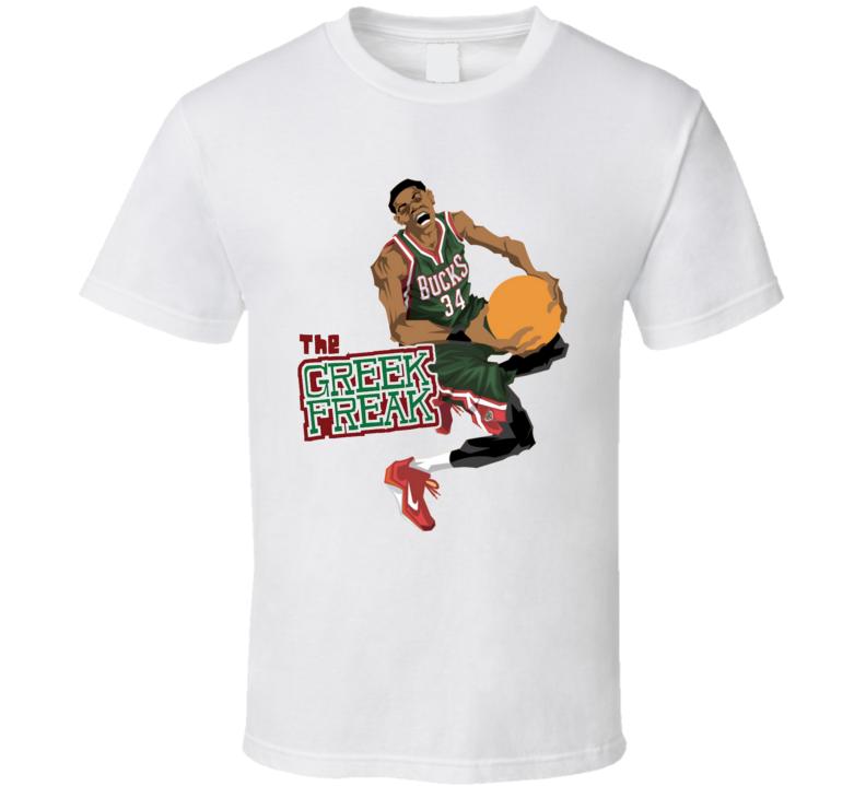 The Greek Freak 34 Giannis Antetokounmpo Milwaukee Basketball T Shirt