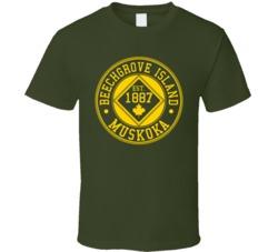 Military Green beech grove  Island 125 Year Anniversary T Shirt