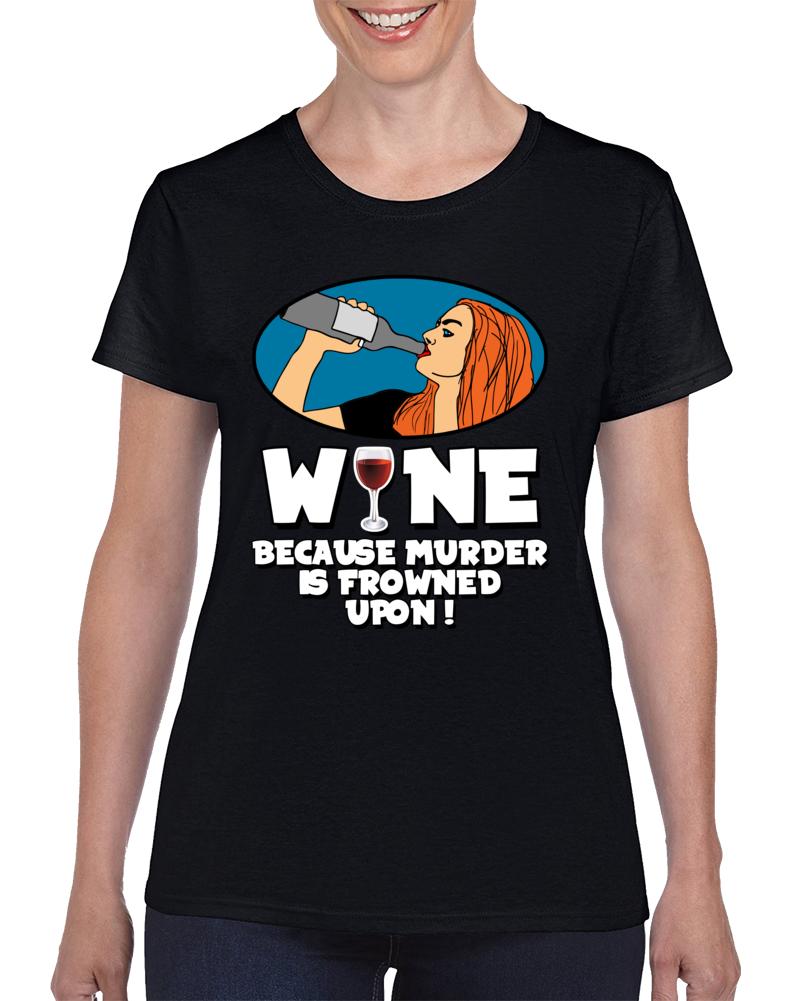Wine Murder White Text  T Shirt