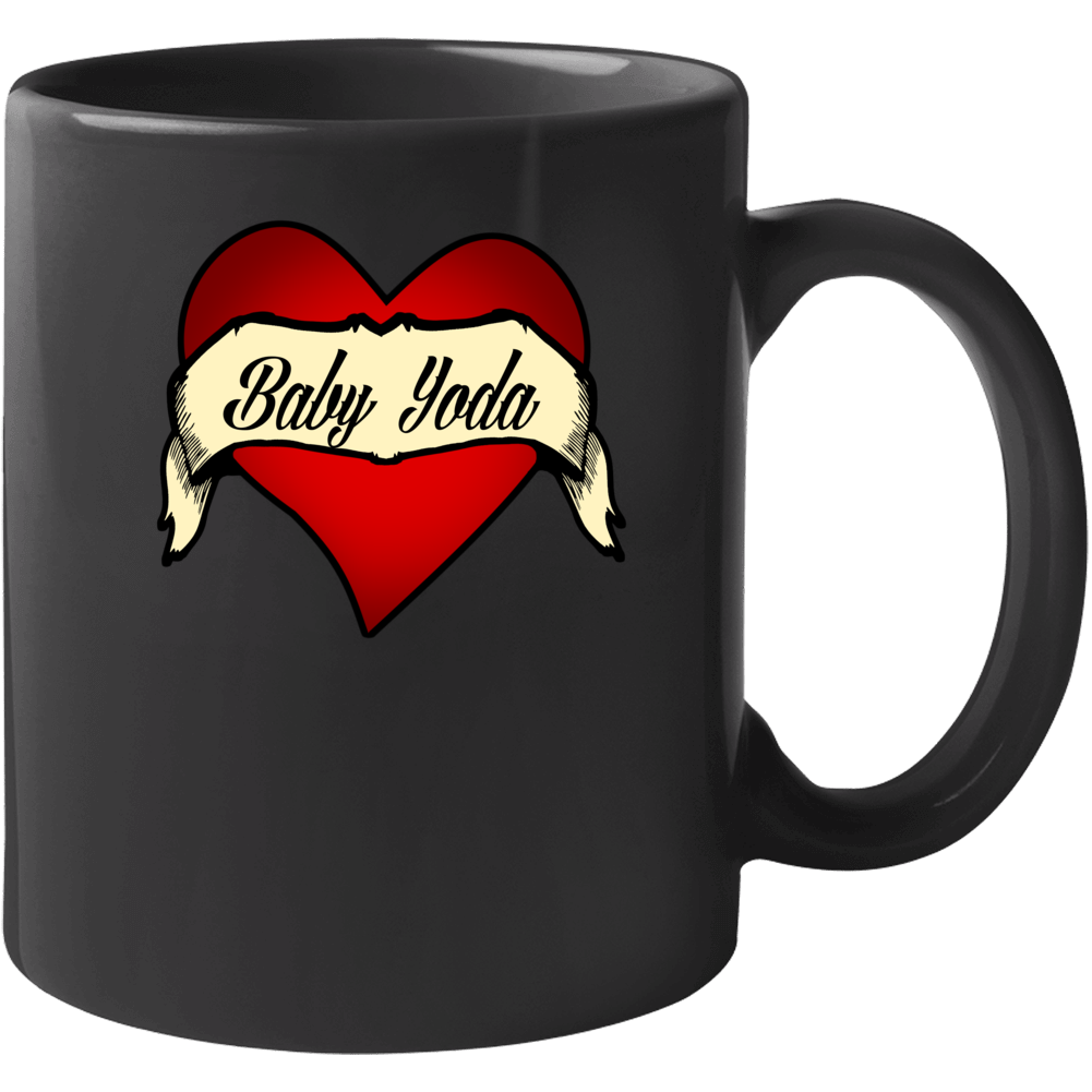 Baby Yoda Heart Tattoo Mug
