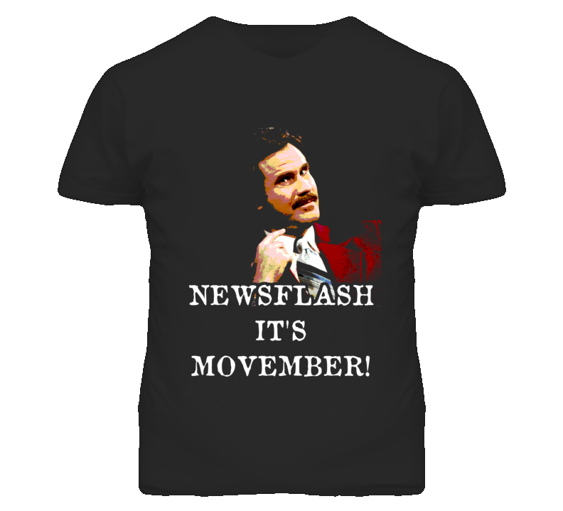 Ron Burgundy Movember Moustache Will Ferrell Anchorman T Shirt