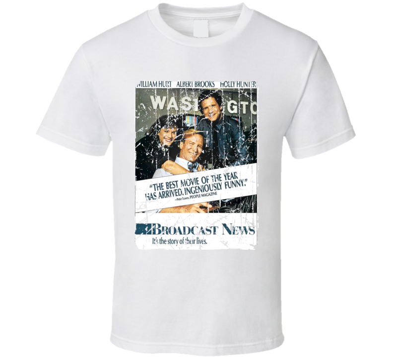 Broadcast News Movie Poster Retro Aged Look T Shirt