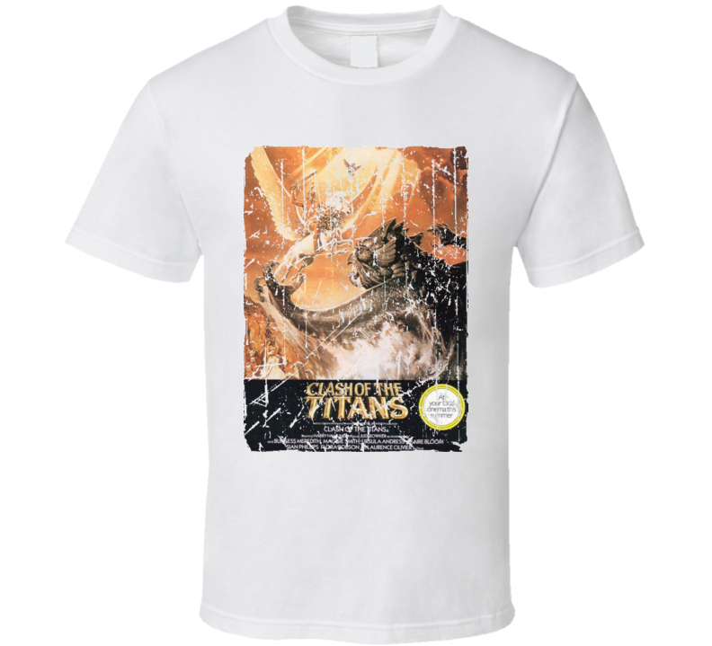 Clash Of The Titans Movie Poster Retro Aged Look T Shirt