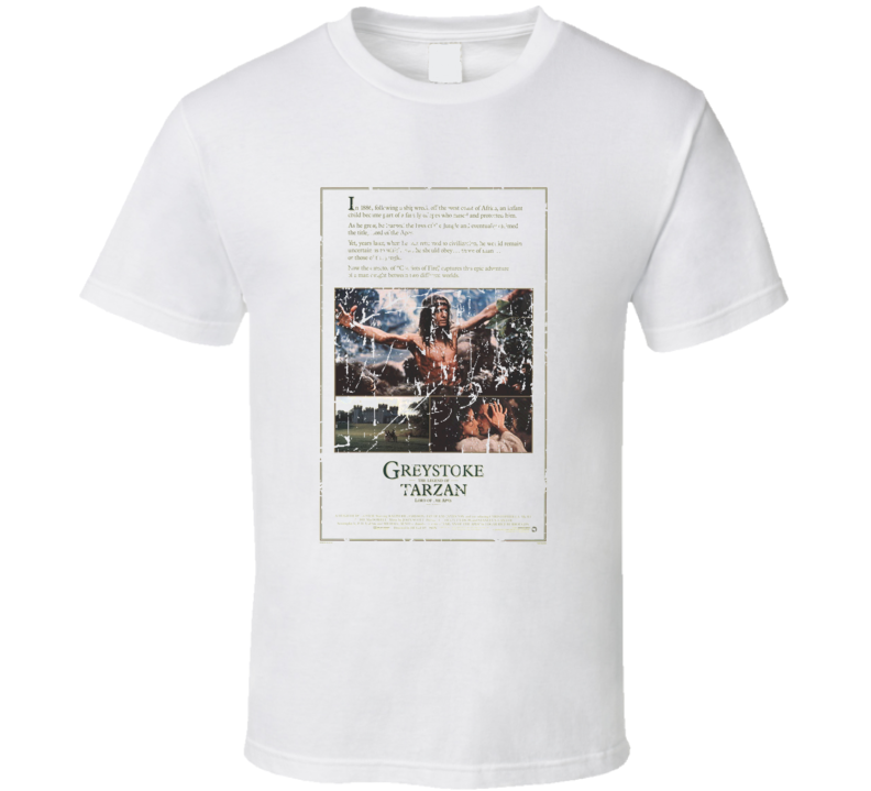 Greystoke The Legend Of Tarzan Lord Of The Apes Movie Poster Retro Aged Look T Shirt