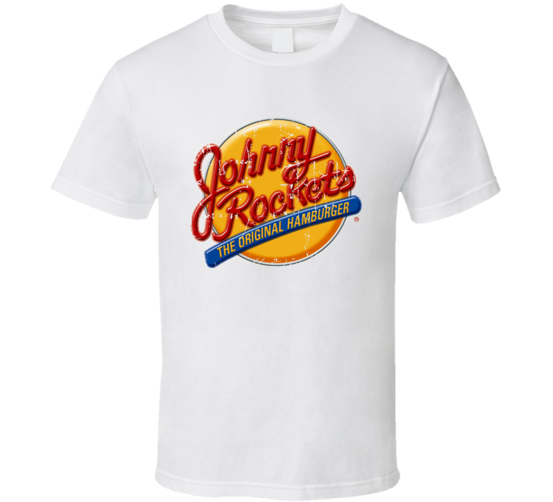 Johnny Rockets Fast Food Restaurant Distressed Look T Shirt