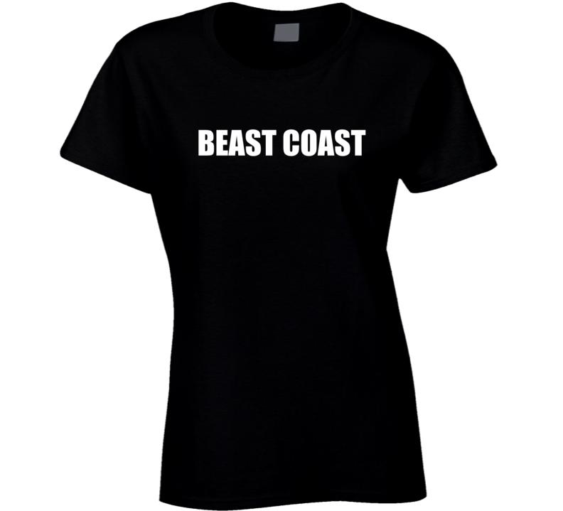 East Coast West Coast Beast Coast Gym Muscle Fitness Weights Lifting Training Ladies T Shirt
